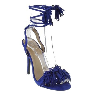 Forever Link Rubina 57 Womens Fringe Open Toe High Heel Sandals   Heeled Sandals