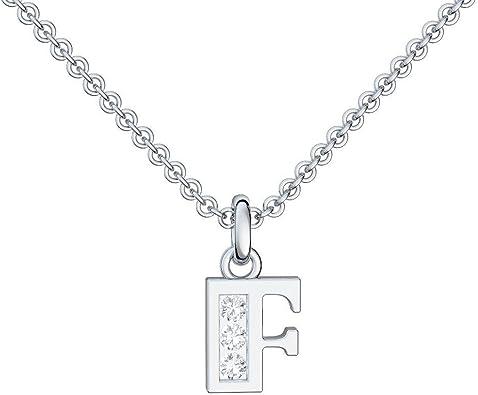 Cadena F letras de plata colgante letras F circonios - con Estuche + - letra F cadena letra F letras colgante de plata circonios FF35-0 SS925ZIFA45 letras: Amazon.es: Joyería
