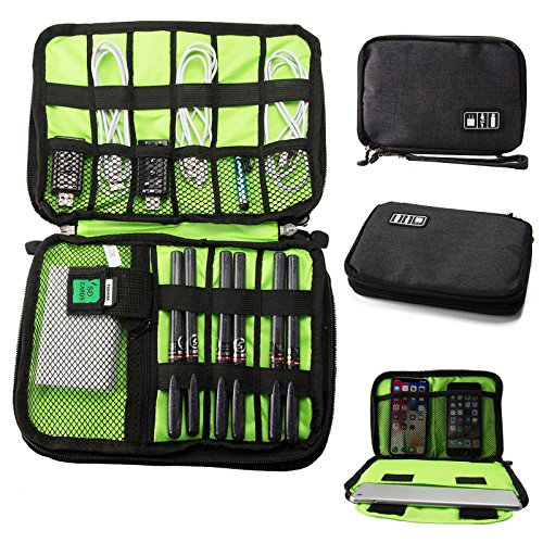 Travel Organizer Tablets Up to 8 Inch (iPad Mini, Galaxy Tab A 7.0, E-Readers), Portable Electronic Accessories Storage Bag (Cable, Adapter, Charger, Extenal Battery, Power Bank, Earphone), Black