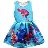 ZHBNN Trolls Little Girls Printed Princess Dress Cartoon Party Dress