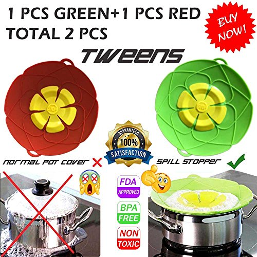 Spill Stopper Lid Cover, Cookware Silicone Lids Boil Over Safe Guard 11'' 2 PCS (Non Spill Lid)