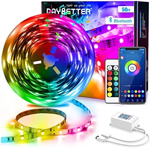 Daybetter Led Strip Lights 50ft Bluetooth Light Strips with App Control Remote, 5050 RGB Led Lights for Bedroom, Music Sync Color Changing Lights for Room Party