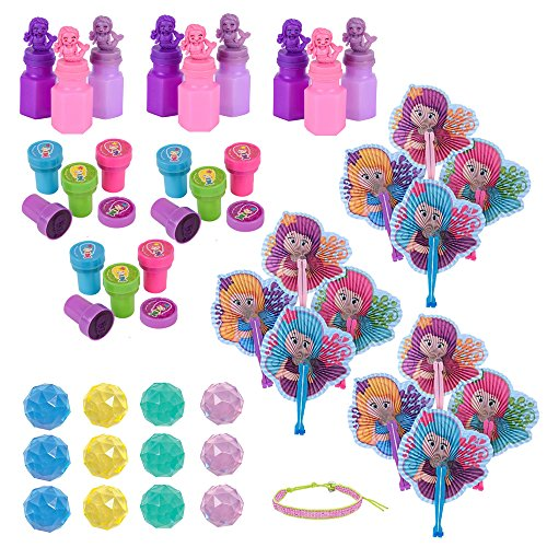 48 PC Mermaid Party Favors - Mermaid Stampers, Mermaid Bubbles, Mermaid Fans, Bounce Balls