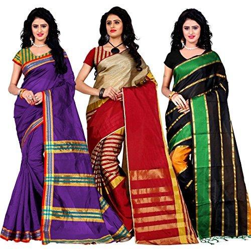 Trendz Combo Pack of Two Saree(Combo_Maliya_Purple_Arun_Red_Patta_Green)