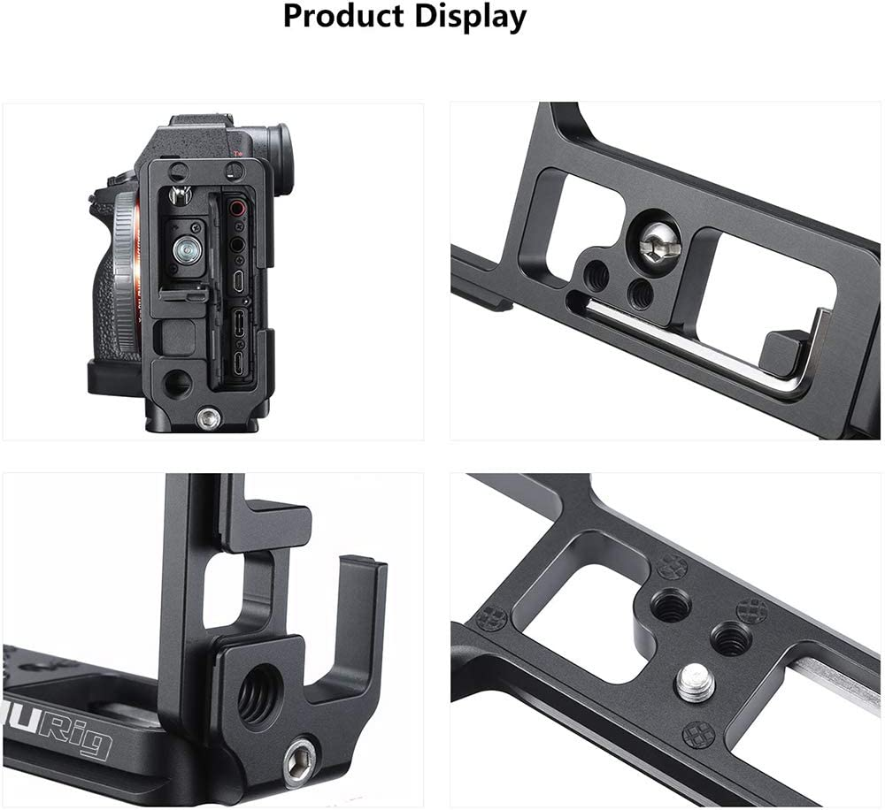 PinShang R024 Camera VLog Quick Release L Plate with Screw Aluminum Alloy for Sony A7R4
