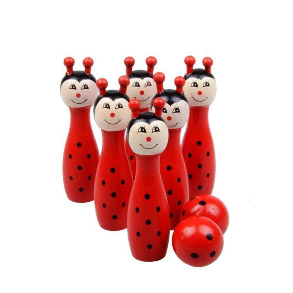 714:CDELEC 8pcs/set Cartoon Intelligence Gifts Bowling Toys 4 Color Cute Wooden Animal Style Bowling Balls Game Baby Intellectual Toys