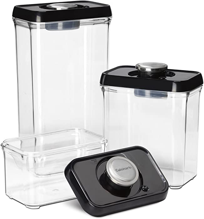 Cuisinart CFS-TC-S6BS 6-Piece Set Fresh Edge Patented Vacuum-Seal Food Storage System, Black & Stainless Steel