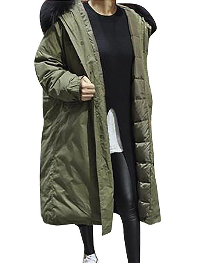 Übergroß Damen Mantel Pelz Kapuze Parka Mit Winter Youpue jLR54A