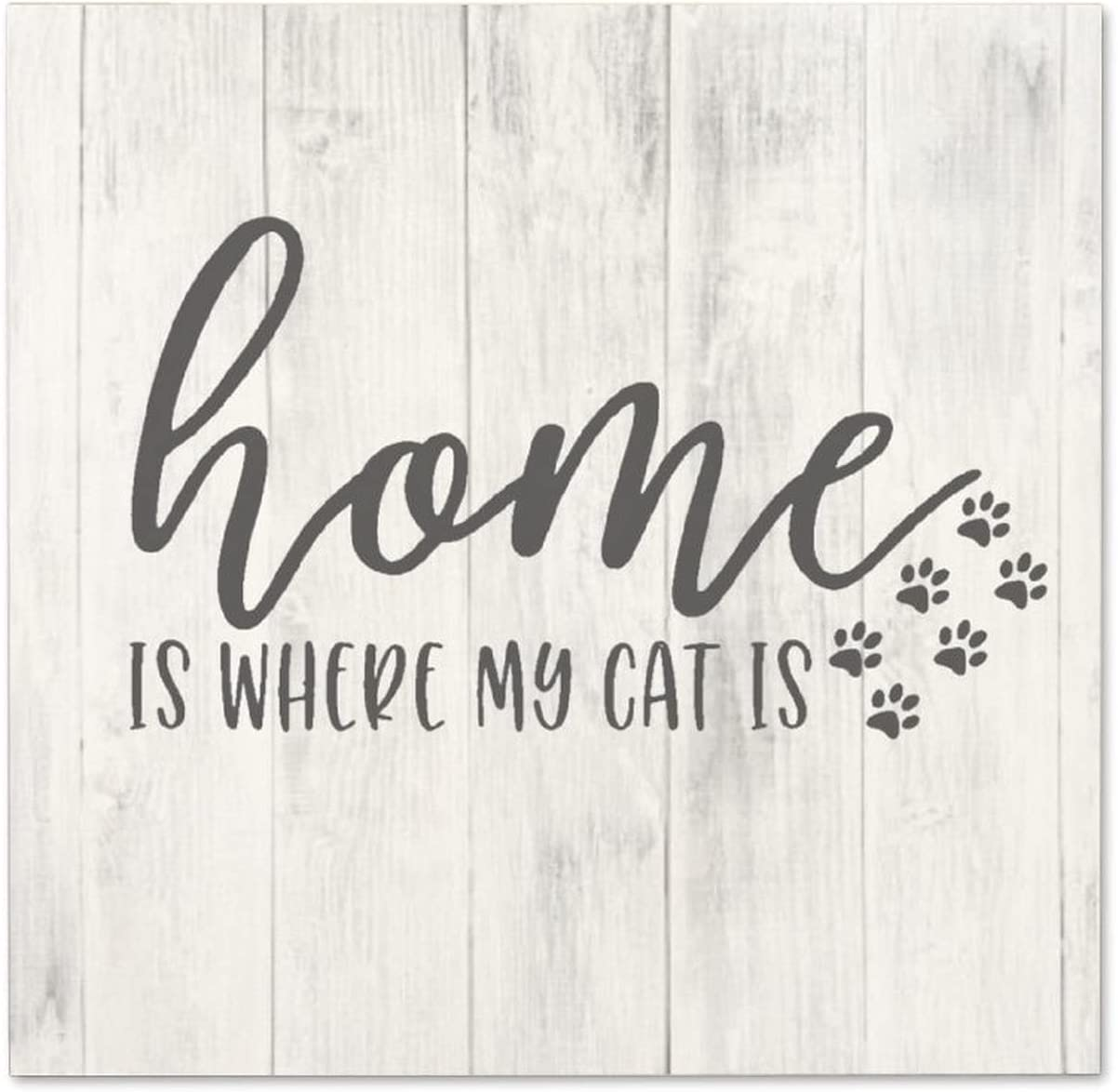 Free Brand Rustic Torched Wood Sign for Home Decor Farmhouse Sign for Kitchen Wooden Sign Table Decor Wooden Sign Home is Where My Cat is 12x12 Inch