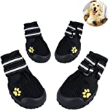 Petacc Protective Dog Boots Breathable Pet Mesh Shoes with Reflective Strap, Black #4