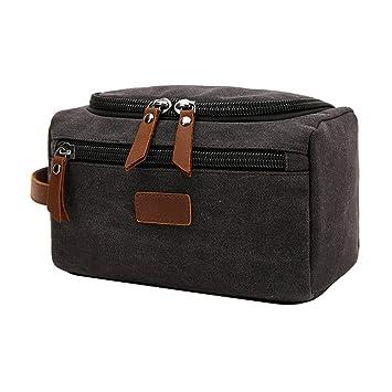 344b4e2cb4fc Amazon.com   VRIKOO Mens Travel Toiletry Organizer Bag Canvas Cosmetics  Makeup Shaving Dopp Kit (Black)   Beauty