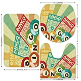 3 Piece Bathroom Mat Set,Vintage Decor,Bingo Game with Ball and Cards Pop Art Stylized Lottery Hobby Celebration Theme,Multi,Bath Mat,Bathroom Carpet Rug,Non-Slip