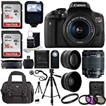 [Patrocinado] Canon EOS Rebel T6i SLR Camera 18-55mm f/3.5-5.6 Lens Deluxe Bundle, 58mm 2x Lens, Wide Angle Lens , Tripod , Flash , UV Kit , Sandisk 32GB