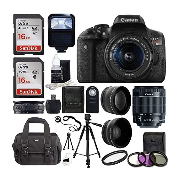 Canon EOS Rebel T6i SLR Camera 18-55mm f/3.5-5.6 Lens Deluxe Bundle, 58mm 2x Lens, Wide Angle Lens , Tripod , Flash , UV Kit , Sandisk 32GB - 61e1qu3aKsL - Canon EOS Rebel T6i SLR Camera 18-55mm f/3.5-5.6 Lens Deluxe Bundle, 58mm 2x Lens, Wide Angle Lens , Tripod , Flash , UV Kit , Sandisk 32GB