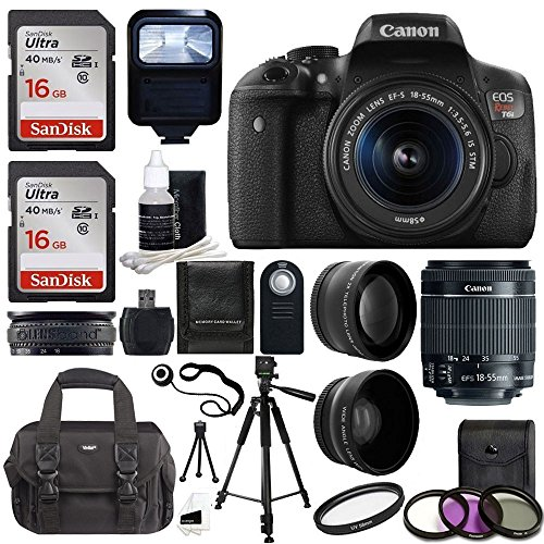 Canon EOS Rebel T6i SLR Camera 18-55mm f/3.5-5.6 Lens Deluxe Bundle, 58mm 2x Lens, Wide Angle Lens , Tripod , Flash , UV Kit , Sandisk 32GB