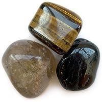 Saco con 3 minerales de protección, ojo de tigre, turmalina negra y cuarzo ahumado