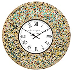 DecorShore 23 Inch Decorative Wall Clock, Silent Clock with Decorative Glass Mosaic, Oversized Wall Clock (Retro Rainbow - Turquoise, Ruby Red & Goldenrod Multi Color)