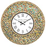 DecorShore 23 Inch Decorative Wall Clock, Silent Clock with Decorative Glass Mosaic, Oversized Wall Clock (Retro Rainbow – Turquoise, Ruby Red & Goldenrod Multi Color) For Sale
