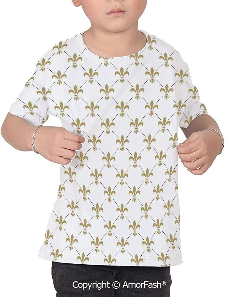 Fleur De Lis Decor Lovely Printed T-Shirts,Crew Neck T-Shirt of Girls,Polyester,