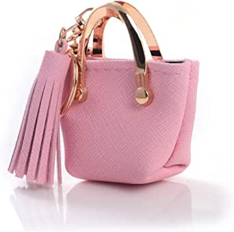 QTKJ Cute Tote Bag Tassels Keychain Mini Coin Purse Key Chain Keyring for Women Mom Purse Handbag Decor (Pink)