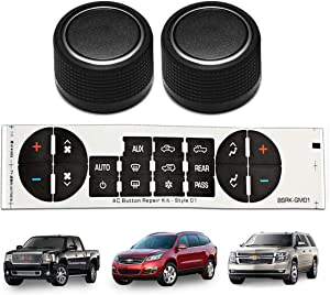 Rear Radio Volume Control Knob,AC Dash Button Sticker Repair Kit for Select GM Vehicles and for 07-14 Chevrolet Chevy GMC Buick Cadillac,Replacement OEM 22912547