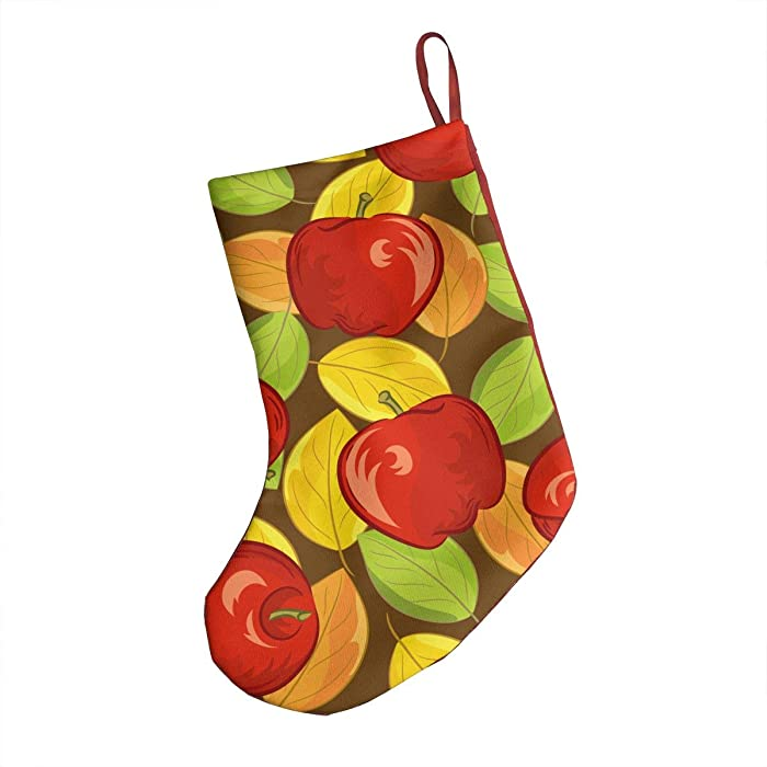 OHMYCOLOR Red Apple Fruit Yellow Tree Leaves Christmas Stockings Socks Candy Gift Card Bags Xmas Stocking Holders, for Santa Claus Snowman Reindeer Tree Decorations Set Festival Party Ornament 18""