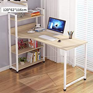 ALIPC Solid Wood Multifunctional Computer Desk,Durable Storage Pc Laptop Desk with Bookshelf Reading Learning Office Desk for Bedroom Living Room-i 120x62x116cm(47x24x46inch)