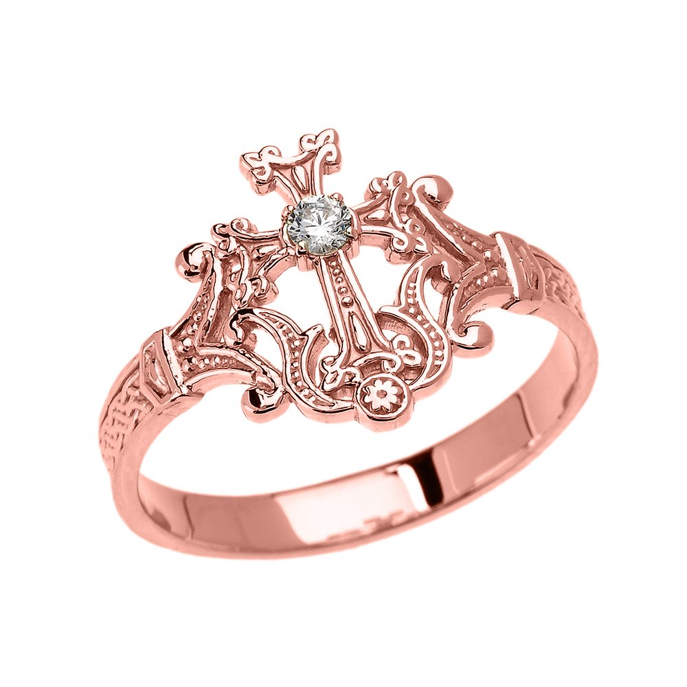 Amazon.com: 14k Rose Gold Solitaire Diamond Orthodox Cross with ...