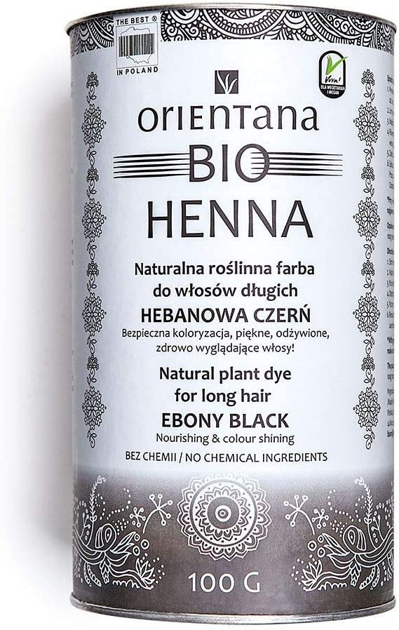 100/% /à base de plantes 100/% vegan Orientana BIO HENN/É cheveux longs Noir d/éb/ène 100 g leur donne volume teint les cheveux en permanence