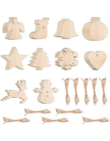 10Pcs cœur creux en bois Morceaux et corde pour arbre de Noël Décorations