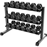 Yaheetech 3 Tier Horizontal Dumbbell Rack Multilevel Weight Storage Stand Organizer for Home Gym, Weight