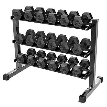 Yaheetech 3 Tier Horizontal mancuerna Rack, Capacidad de Peso: 450 kg: Amazon.es: Deportes y aire libre