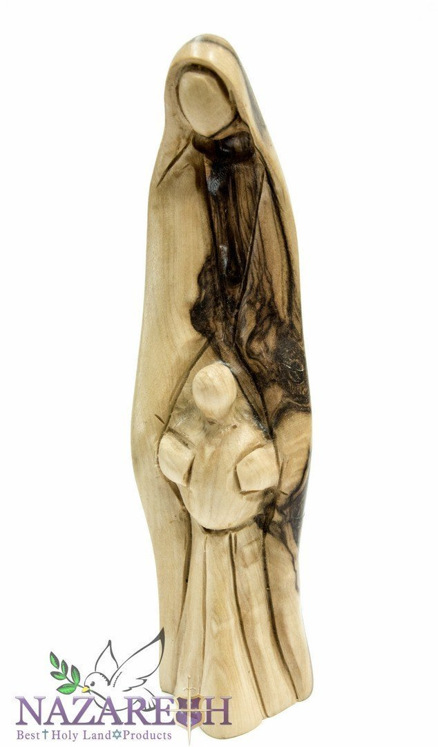 Olive Wood Sculpture Of Virgin Mary With Baby Jesus Statue 6.7'' Figurine Jerusalem Holy Land