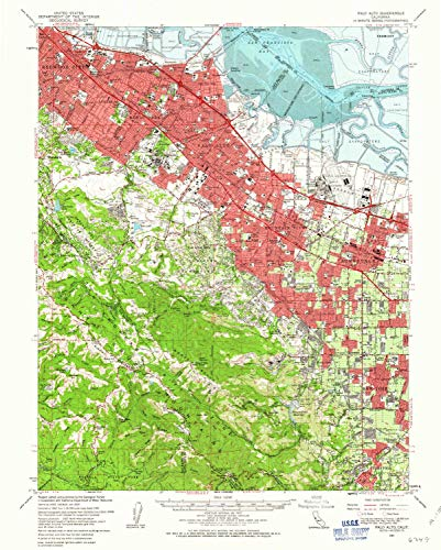YellowMaps Palo Alto CA topo map, 1:62500 Scale, 15 X 15 Minute, Historical, 1961, Updated 1963, 20.7 x 16.6 in - Paper