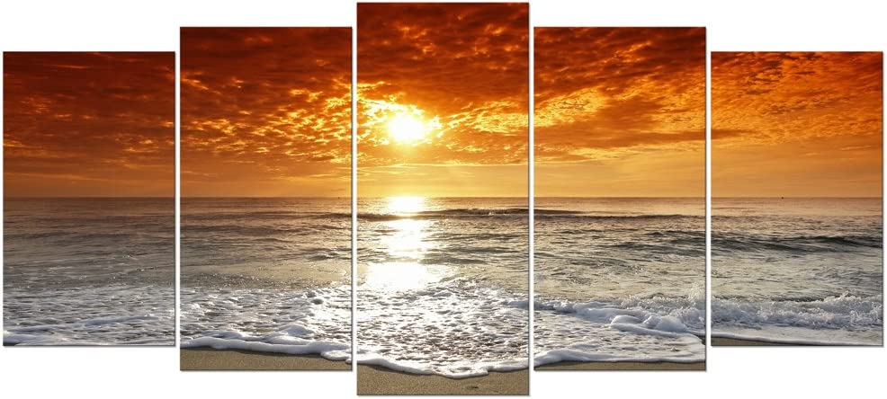 Wieco Art Grand Sight Extra Large 5 Panels Modern Landscape Artwork HD Seascape Giclee Canvas Prints Sea Beach Pictures to Photo Paintings on Canvas Wall Art for Home Decorations Wall Decor