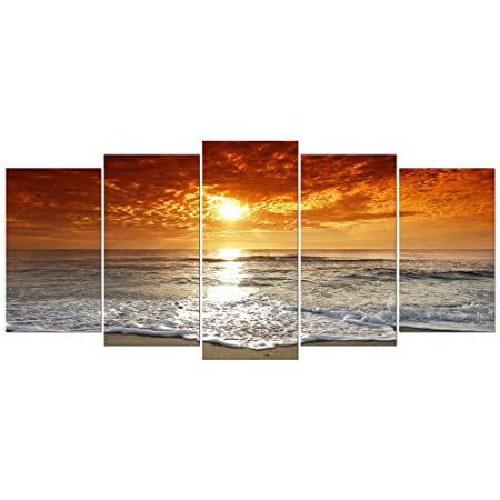 Wieco Art   Grand Sight 5 Piece Modern Landscape Artwork HD Seascape  Stretched And Framed Giclee