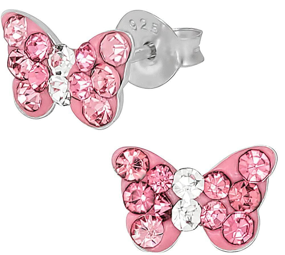 .925 Sterling Silver Hypoallergenic Pink Crystal Butterfly Stud Earrings for Girls (Nickel Free) Penny & Piper NA