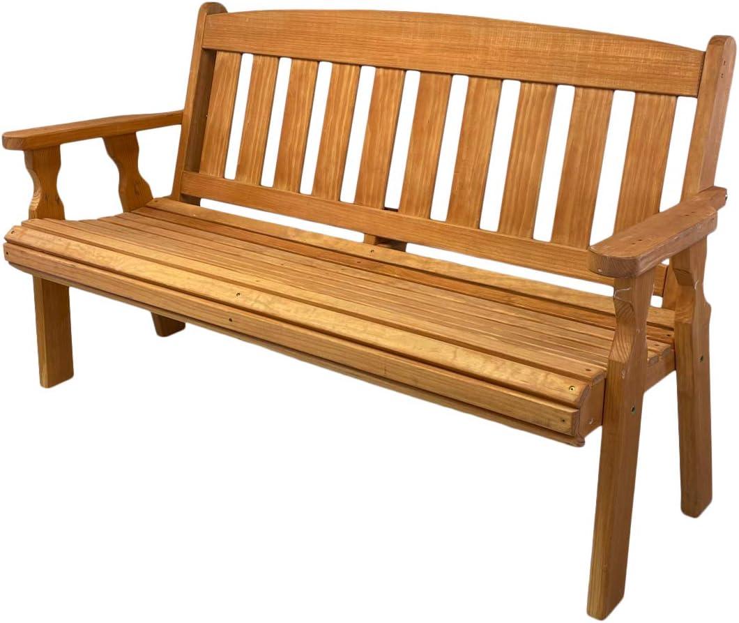 Amish Heavy Duty 800 Lb Mission Pressure Treated Garden Bench (4 Foot, Cedar Stain)