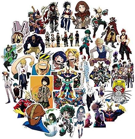 50 Unids/pack Anime My Hero Academia Pegatinas Para Skateboard Skateboard Pegatinas de PVC A Prueba de agua Pegatinas Para Niños Regalos: Amazon.es: Oficina y papelería