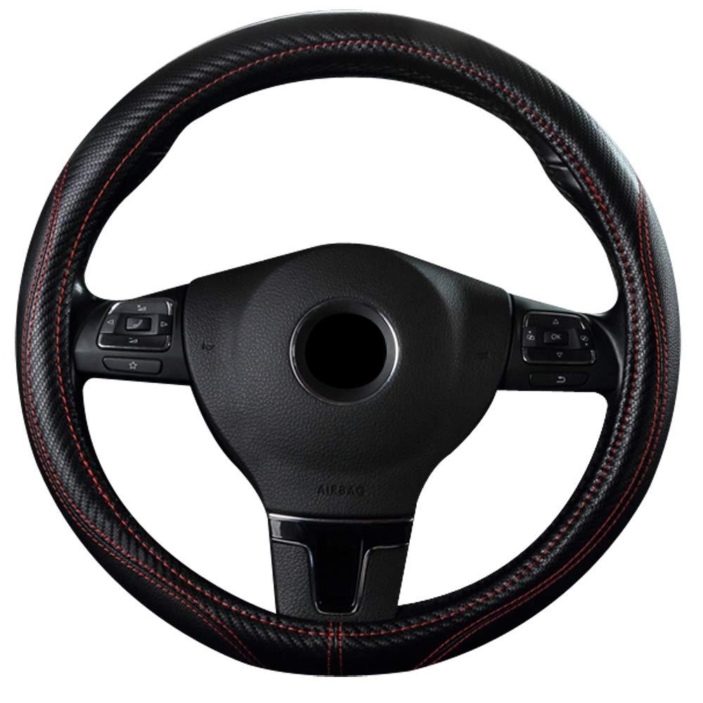 Xmomx Fiber Like Auto Car Steering Wheel Cover Auto Breathable Anti-Slip Faux Microfiber Leather Steering Wheel Cover Warm in Winter Cool in Summer Black