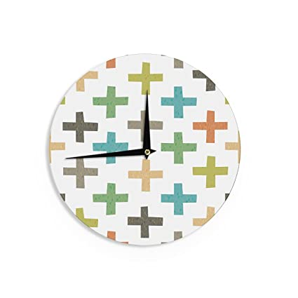 Kess InHouse CarolLynn TICE Stripes Blue White Wall Clock 12 Diameter