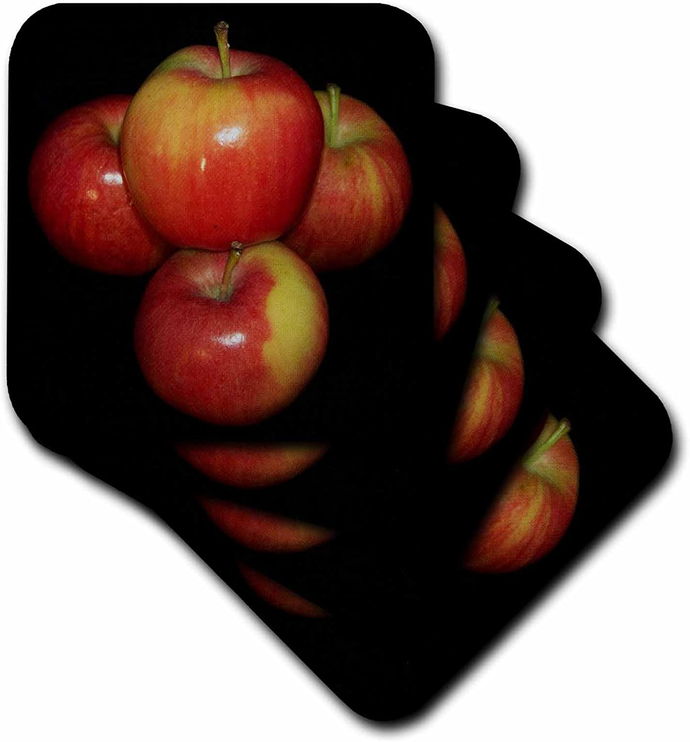 3dRose cst_21642_1 Red and Yellow Apples Black Background Soft Coasters, Set of 4