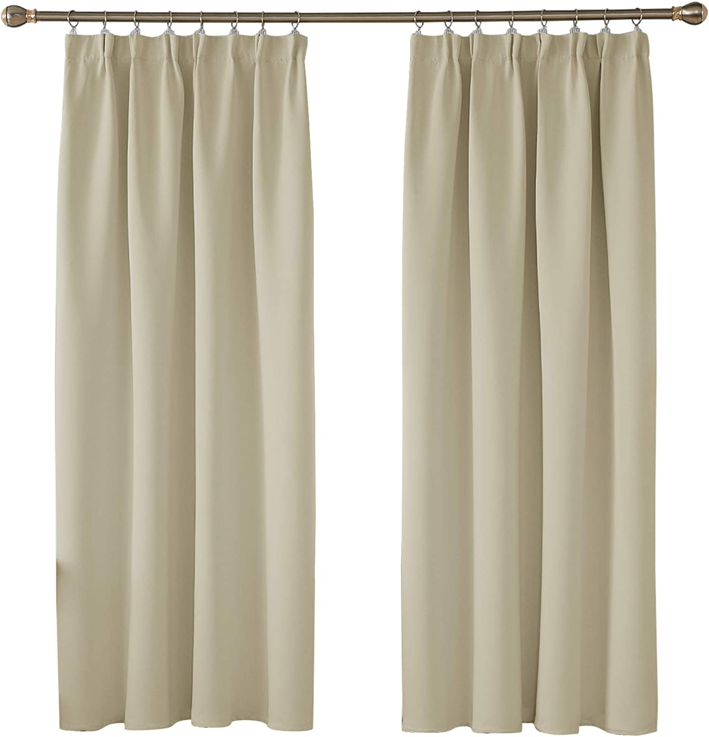 Deconovo Solid Curtains Thermal Insulated Tape Top Blackout Curtains For Boys Room 66 X 54 Beige Two Panels Amazon Co Uk Kitchen Home