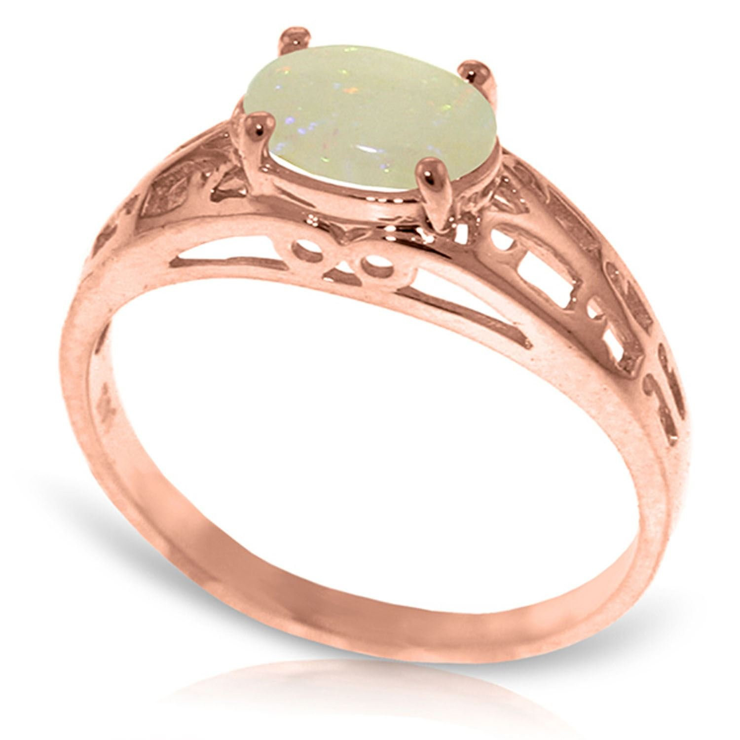 ALARRI 14K Solid Rose Gold Filigree Ring w/ Natural Opal With Ring Size 10