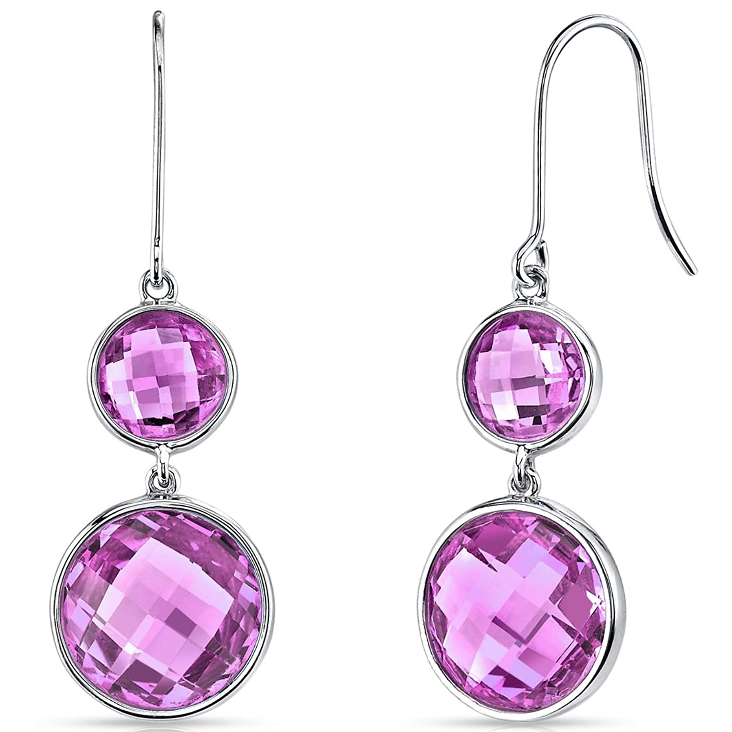 14 Karat White Gold Double Checkerboard 17.75 Carats Created Pink Sapphire Dangle Earrings