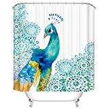mimihome Peacock Shower Curtains, Waterproof Mildew Resistant Bird Pattern Fabric Bath Curtain, 66W 72L Inch, Blue White Teal