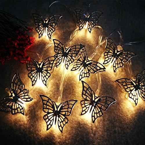 fantastic me 10ft 20 LED Iron Butterfly Fairy String Lights Night Lamp-Battery Powered-Decoration for Home Bedroom Kids Nursery Room Christmas Tree Wedding Party Garden by fantastic me (Image #2)