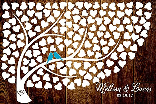Custom Wedding Sign Personalized Wedding Tree Guest Book Alternative Poster, Print, Framed or Canvas, 150 Signatures Hearts Rustic Dark Wood Background]()