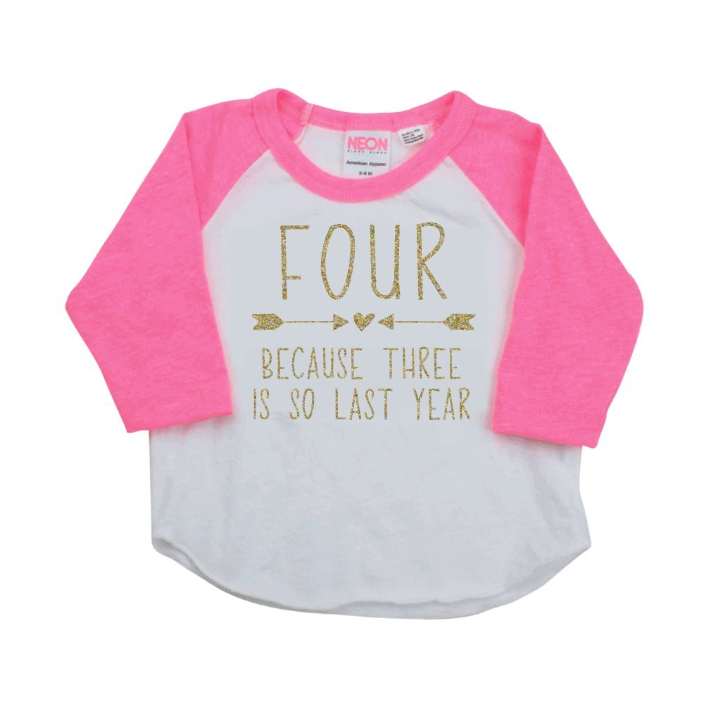 Bump and Beyond Designs Fourth Birthday Girl Shirt Four Year Old Girl Birthday Outfit
