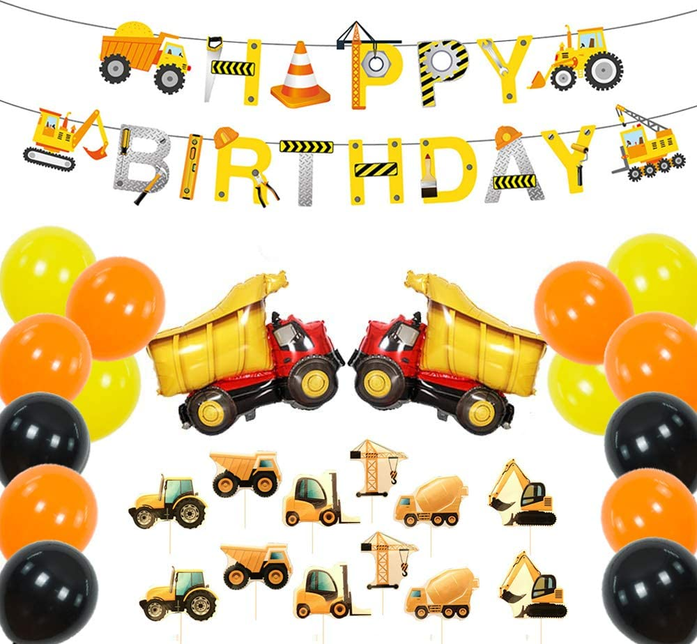 Construction Party Supplies Kits, Dump Truck Theme Birthday Decoration Pack, Truck Themed Happy Birthday Banner, Cupcake Topper, Mylar Foil and Latex Balloons for Kids Party Baby Shower Decor
